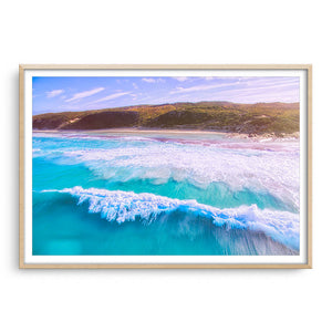 Drone image of surf break at 11 mile beach in Esperance, Western Australia framed in raw oak