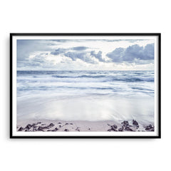 Grey skies over trigg Beach in Perth, Western Australia framed in black