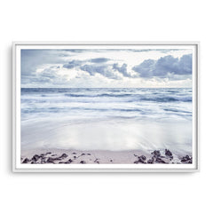 Grey skies over trigg Beach in Perth, Western Australia framed in white
