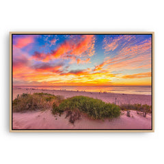 Summer sunsets over Scarborough Beach in Perth, Western Australia framed canvas in raw oak