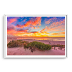 Summer sunsets over Scarborough Beach in Perth, Western Australia framed in white