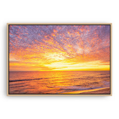Sunset over Mettams Pool in Perth, Western Australia  framed canvas in raw oak