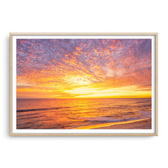 Sunset over Mettams Pool in Perth, Western Australia  framed in raw oak