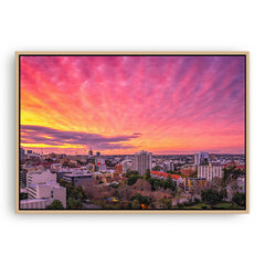 Sunset over East Perth in Western Australia framed canvas in raw oak