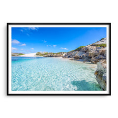 Beautiful blue waters at Sandy Cape on the Coral Coast of Western Australia framed in black