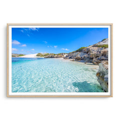Beautiful blue waters at Sandy Cape on the Coral Coast of Western Australia framed in raw oak