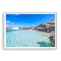 Beautiful blue waters at Sandy Cape on the Coral Coast of Western Australia framed in white