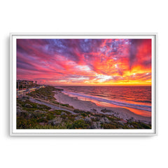 Stunning sunset over North Beach in Perth, Western Australia framed in white