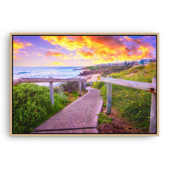 Beach path on the Perth Coast in Western Australia framed canvas in raw oak