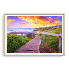 Beach path on the Perth Coast in Western Australia framed in raw oak