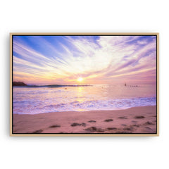 Soft pastel sunset over Cottesloe in Western Australia framed canvas in raw oak