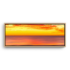 Golden skies over the ocean in Perth, Western Australia framed canvas in raw oak