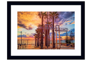 Stormy sunset at Scarborough Beach in Perth, Western Australia framed in black