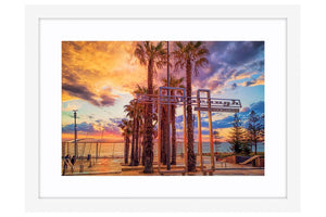 Stormy sunset at Scarborough Beach in Perth, Western Australia framed in white