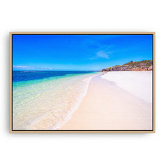 Sandy Cape Beach in Western Australia framed canvas in raw oak