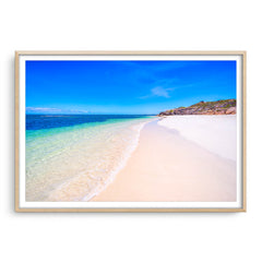 Sandy Cape Beach in Western Australia framed in raw oak