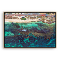 Aerial view of the reef at Mettams Pool in Perth, Western Australia framed canvas in raw oak