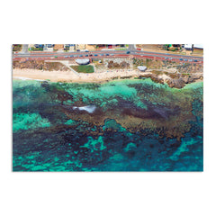 Aerial view of the reef at Mettams Pool in Perth, Western Australia