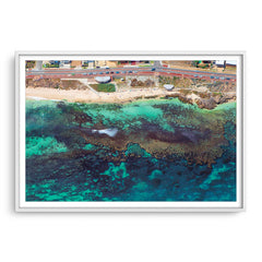 Aerial view of the reef at Mettams Pool in Perth, Western Australia framed in white