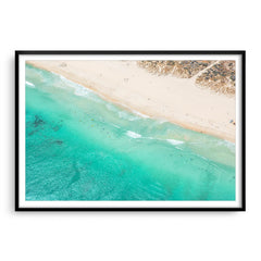 Aerial view of surf school at Trigg Beach, Perth, Western Australia framed in black