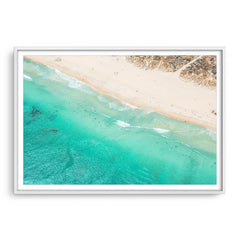 Aerial view of surf school at Trigg Beach, Perth, Western Australia framed in white