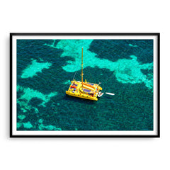 Aerial view of Capella Catamaran at Rottnest, Western Australia framed in black