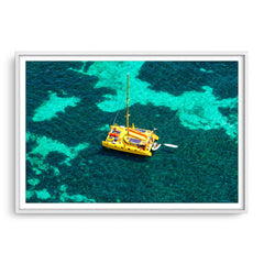 Aerial view of Capella Catamaran at Rottnest, Western Australia framed in white