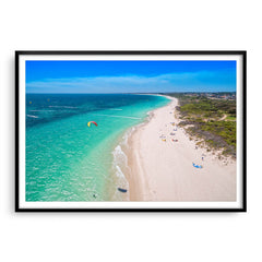 Aerial view of kitesurfers in Perth, Western Australia framed in black