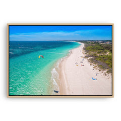 Aerial view of kitesurfers in Perth, Western Australia framed canvas in raw oak