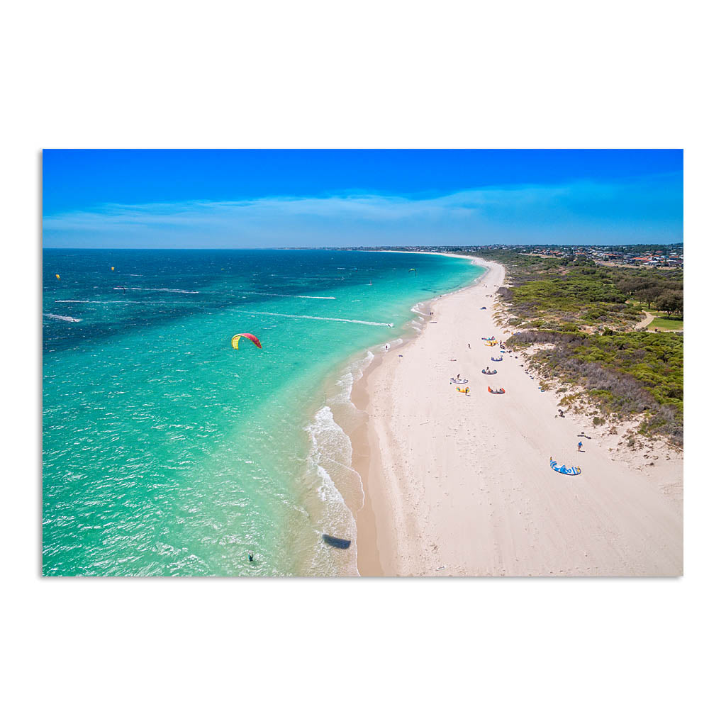 Aerial view of kitesurfers in Perth, Western Australia