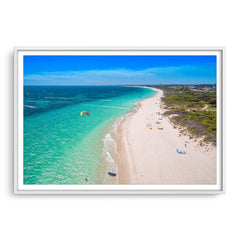 Aerial view of kitesurfers in Perth, Western Australia framed in white