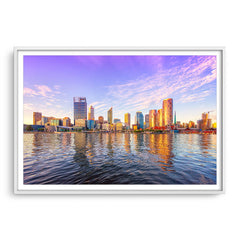 Perth city from the Swan River glowing in the afternoon sun, Western Australia framed in white