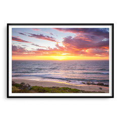 Sunset surf at North Beach, Western Australia framed in black