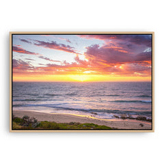 Sunset surf at North Beach, Western Australia framed canvas in raw oak