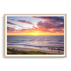 Sunset surf at North Beach, Western Australia framed in raw oak