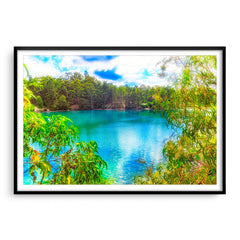 Black Diamond Lake in Collie, Western Australia framed in black