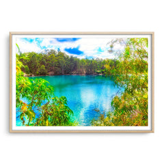 Black Diamond Lake in Collie, Western Australia framed in raw oak