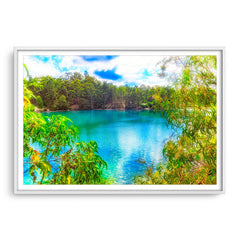Black Diamond Lake in Collie, Western Australia framed in white