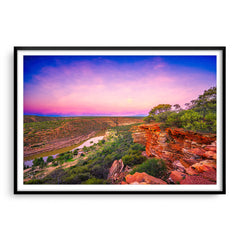 Kalbarri Gorge at sunset in Western Australia framed in black