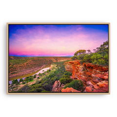 Kalbarri Gorge at sunset in Western Australia framed canvas in raw oak