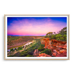 Kalbarri Gorge at sunset in Western Australia framed in raw oak