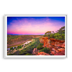 Kalbarri Gorge at sunset in Western Australia framed in white
