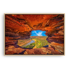 Natures Window in the Kalbarri National Park, Western Australia framed canvas in raw oak