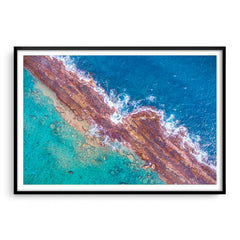 Abstract aerial of Port Gregory reefs in Western Australia framed in black