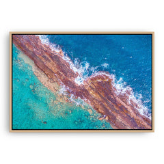 Abstract aerial of Port Gregory reefs in Western Australia framed canvas in raw oak
