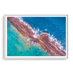 Abstract aerial of Port Gregory reefs in Western Australia framed in white