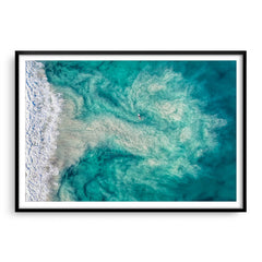 Riptide at Trigg Beach in Perth, Western Australia framed in black