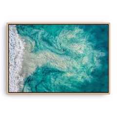Riptide at Trigg Beach in Perth, Western Australia framed canvas in raw oak