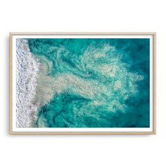 Riptide at Trigg Beach in Perth, Western Australia framed in raw oak
