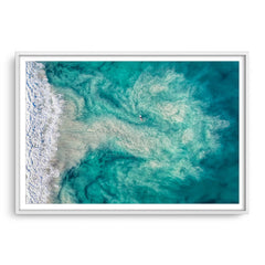 Riptide at Trigg Beach in Perth, Western Australia framed in white
